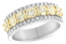 126-10117 gold  ring with white and yellow diamonds Allison Kaufman